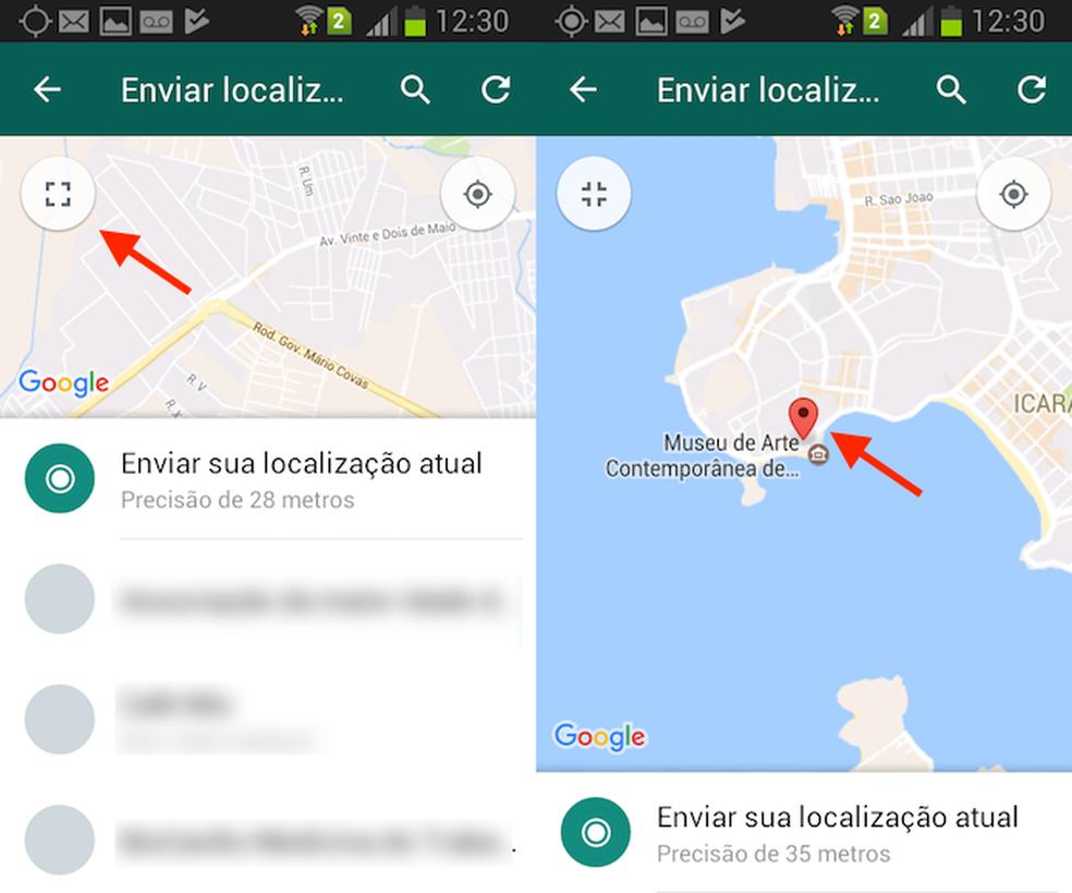 Ação para abrir em tela cheia o mapa do WhatsApp para Android (Foto: Reprodução/Marvin Costa)