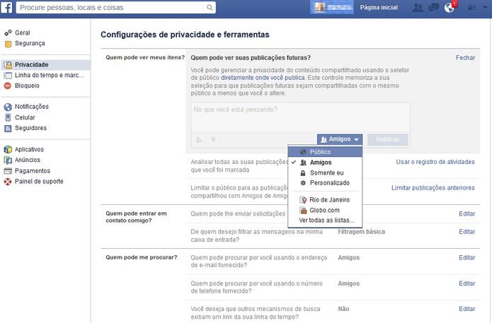 """Escolha apenas """"amigos"""" para limitar suas publicações no Facebook (Foto: Reprodução/Barbara Mannara)"""