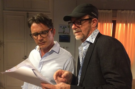 Petrônio Gontijo e Rudi Lagemann nos bastidores de 'Conselho tutelar' (Foto: Arquivo pessoal)