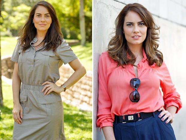 Suzana antes e depois da transformação (Foto: Felipe Monteiro e Ellen Soares / Gshow)