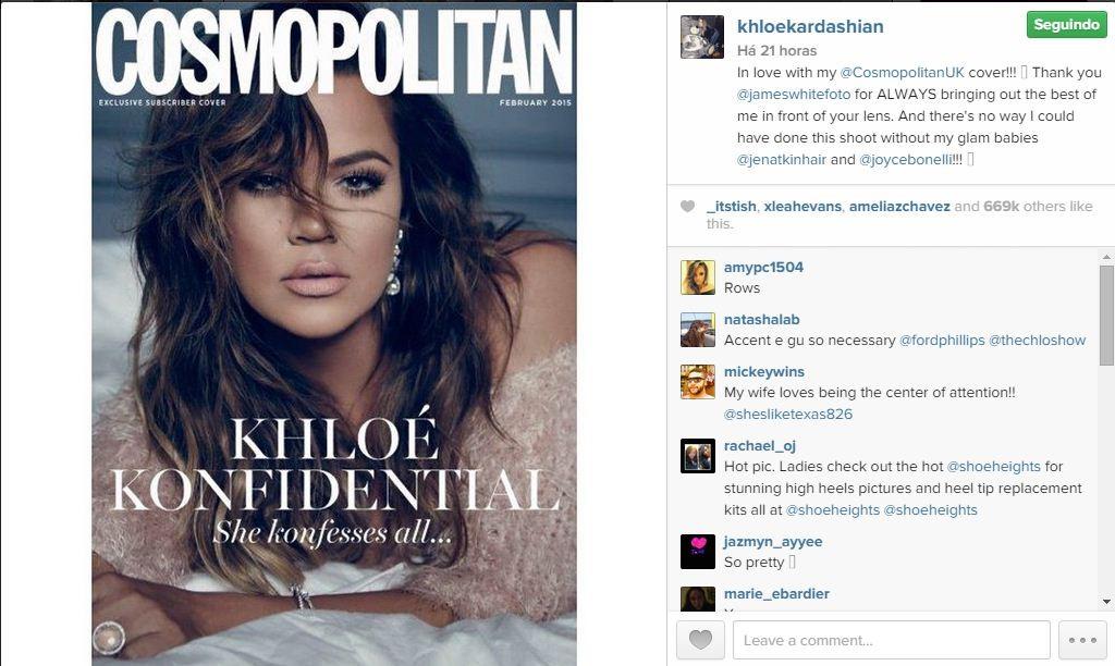 """Khloe Kardashian toda sexy em revista feminina: """"não tenho desejo de sexo... só quero ficar de conchinha"""""""