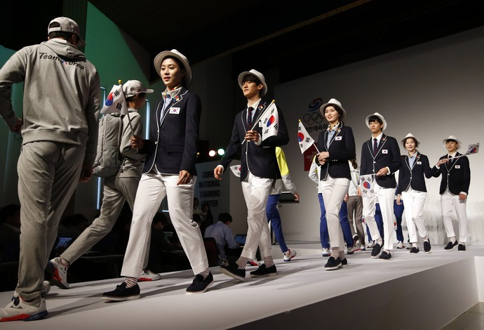 Uniformes da Coreia do Sul para o Rio 2016 (Foto: AP Foto/Lee Jin-man)
