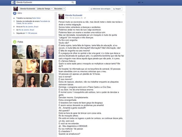 Apresentadora fez desabafo em rede social (Foto: Reprodução/Facebook)