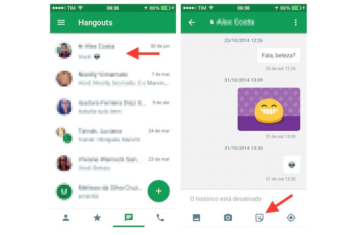 Acessando os Stickers do Google Hangouts para iPhone (Foto: Reprodução/Marvin Costa)
