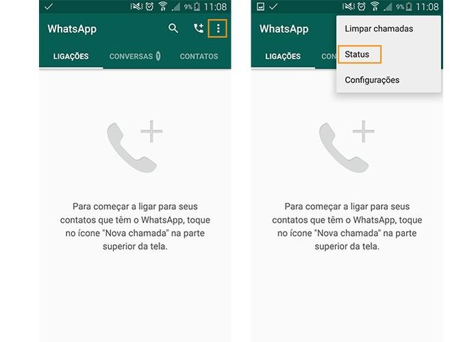 Acesse o menu do WhatsApp para acessar o Status (Foto: Reprodução/Barbara Mannara)