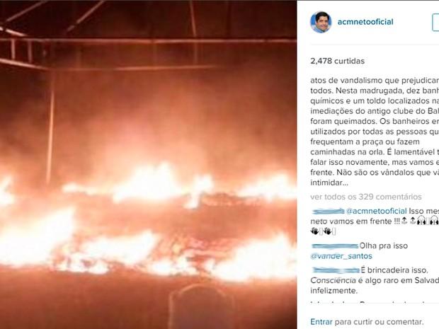 Prefeito ACM Neto lamentou atos de vandalismo na madrugada deste sábado (Foto: Reprodução/Instagram)