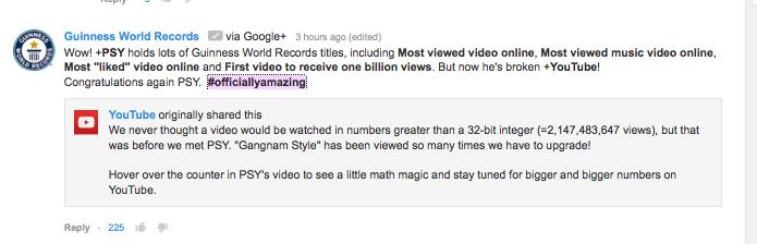 Perfil do Guinness conversa com YouTube em vídeo de Gangnam Style, de PSY (Foto: Reprodução/YouTube)