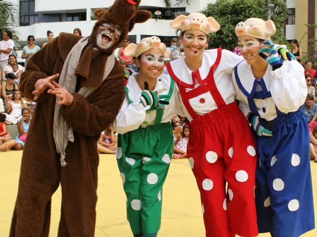 Espetáculo 'Os Três Porquinhos' será encenado neste domingo, em Salvador (Foto: Divulgação/Políci)