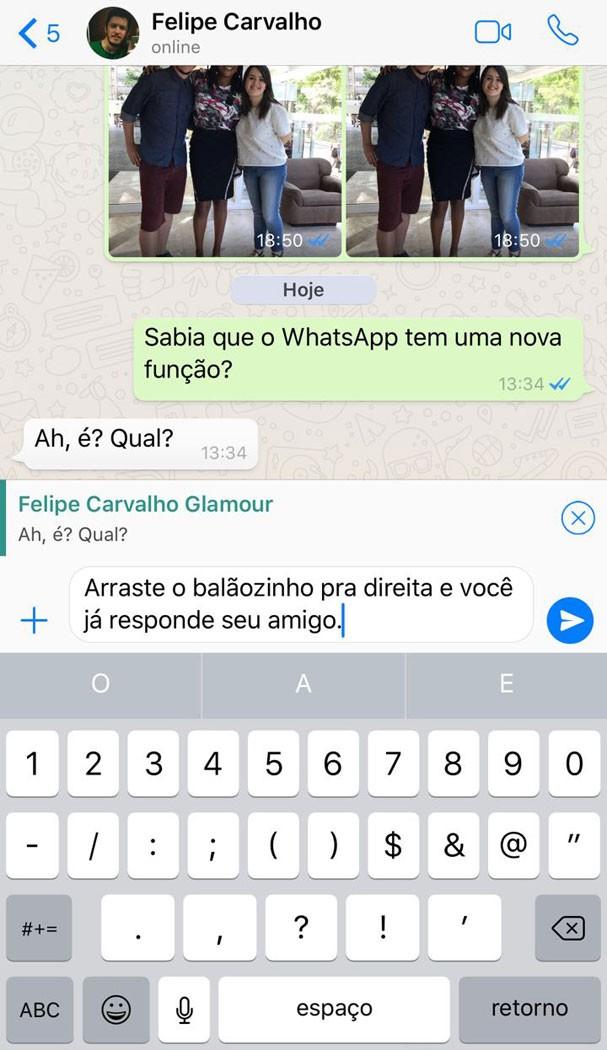 Respostas rápidas no WhatsApp apenas deslizando a conversa para a direita (Foto: Reprodução)