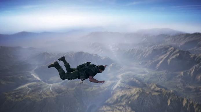 Jogador pode até pular de para-quedas no game (Foto: Reprodução/TechTudo)
