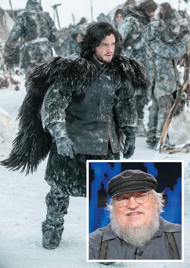 EXPECTATIVA A cena do personagem Jon Snow na próxima temporada de Guerra dos Tronos. No detalhe, o escritor George R.R. Martin. A série é baseada em livros que ele, caprichosamente, demora anos  para escrever (Foto: Divulgação e Frederick M. Brown/Getty Images)
