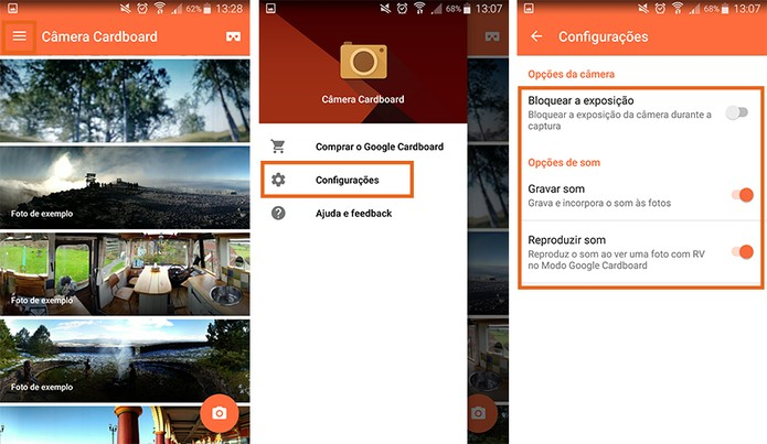 Personalize as funções do app Google Câmera Cardboard (Foto: Reprodução/Barbara Mannara)