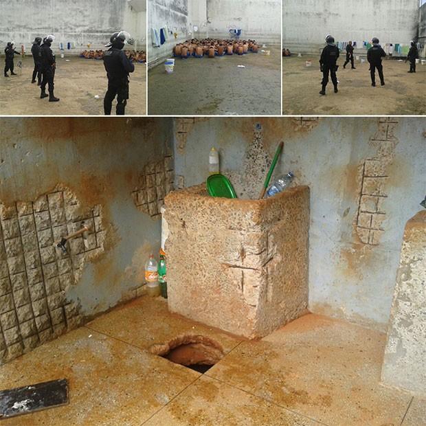 Após a descoberta do túnel, Grupo de Escolta Penal entrou no presídio, fez revista nas celas e contagem dos presos (Foto: Grupo de Escolta Penal)