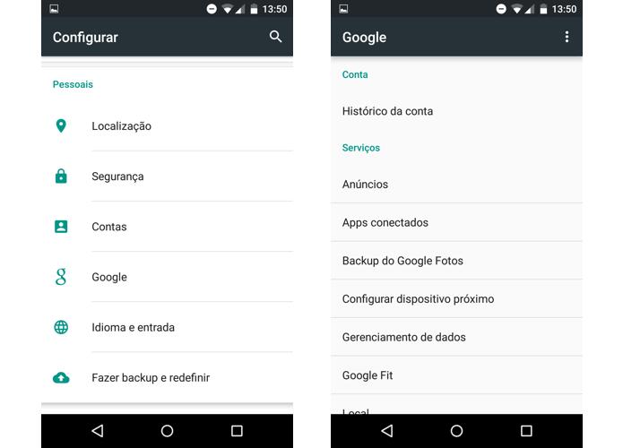 Preferências do Google ficam dentro das configurações (Foto: Reprodução/Paulo Alves)