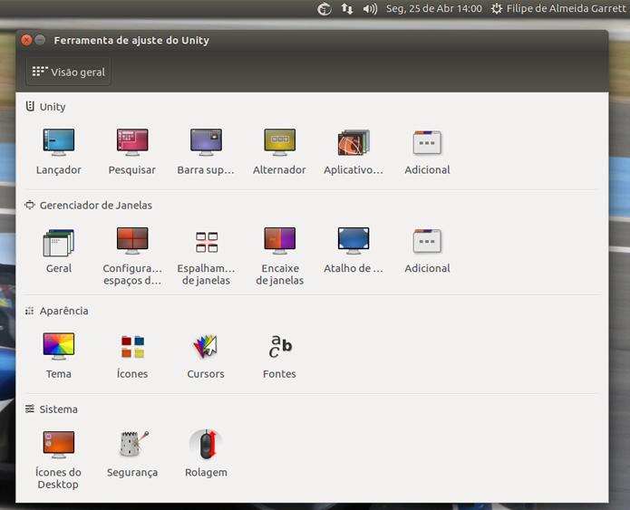 Ferramenta dá acesso a diversas configurações da interface que ficam escondidas no Ubuntu (Foto: Reprodução/Filipe Garrett)