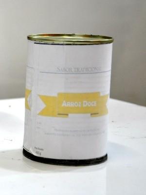 Arroz doce em lata (Foto: Carlos Palmeira/ G1)