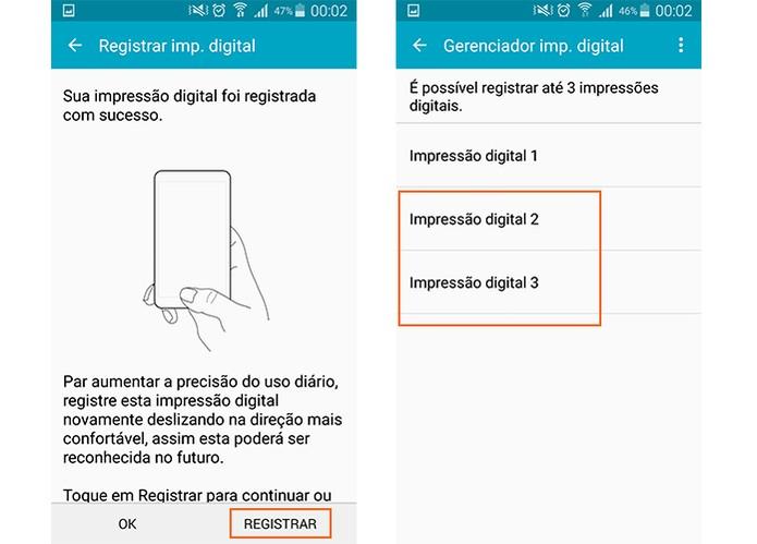 Confirme o registro e note que a digital foi adicionada no Galaxy S5 (Foto: Reprodução/Barbara Mannara)