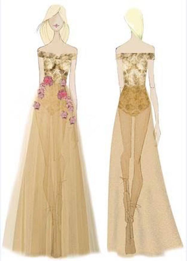 Croqui de vestido de Patrícia Bonaldi usado por Sabrina Sato (Foto: Divulgação)