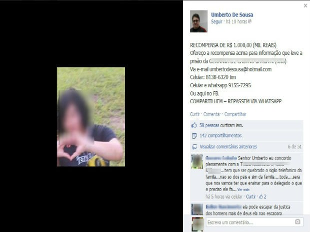 Pai postou foto da suspeita no perfil pessoal no Facebook (Foto: Abinoan Santiago/G1)