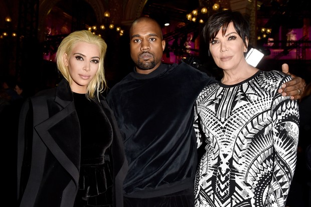 Kim Kardashian, Kanye West e Kris Jenner (Foto: Getty Images)