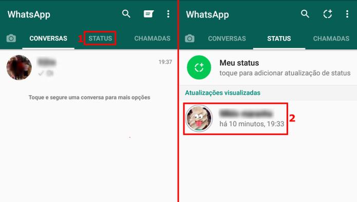 Acessando o status de um amigo no WhatsApp (Foto: Reprodução/Edivaldo Brito)