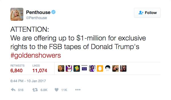 A mensagem na qual a revista promete US$ 1 milhão pelas sex tapes de Donald Trump (Foto: Twitter)
