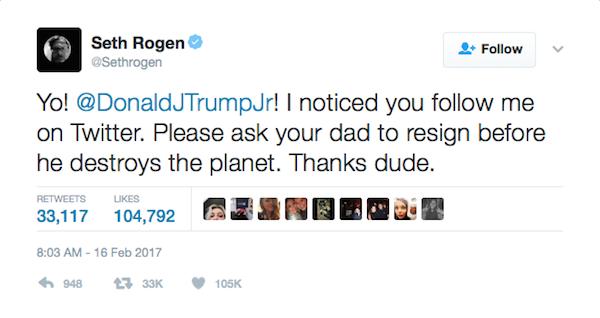 Uma das mensagens de Seth Rogen dirigidas a Donald Trump Jr. (Foto: Twitter)