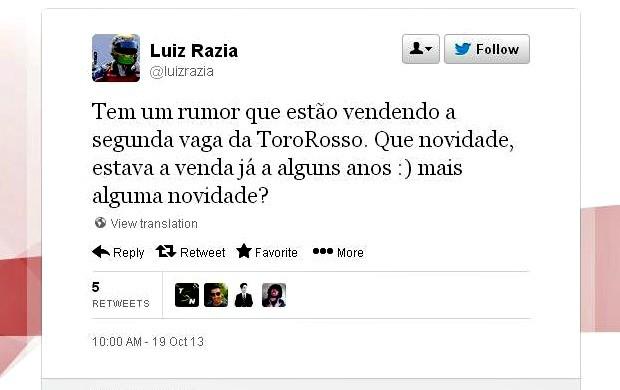 O piloto baiano Luiz Razia desabafou por meio das redes sociais (Foto: Reprodução / Twitter)