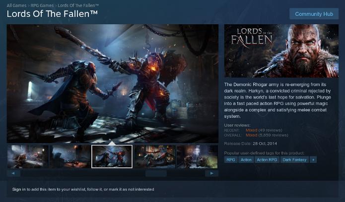 Página de Lords of the Fallen no Steam (Foto: Reprodução/André Mello)