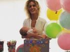 Sol de Maria, neta de Preta Gil, ganha festa temática de 3 meses