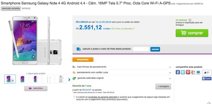 Galaxy Note 4 na loja virtual Magazine Luiza (Foto: Reprodução/Magazine Luiza)