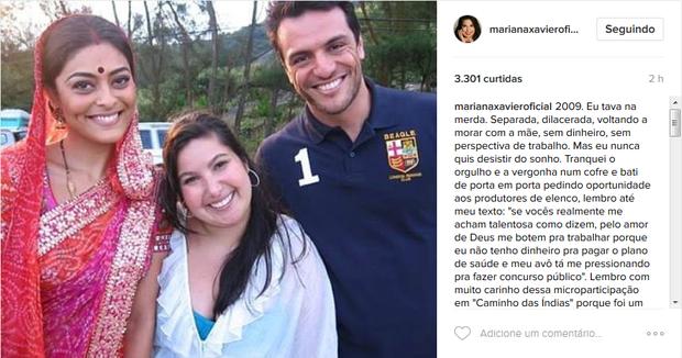 Mariana Xavier desabafa no Instagram (Foto: Reprodução/Instagram)