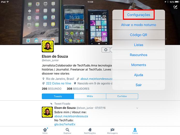 Abra as configurações do Twitter para limpar cache do aplicativo (Foto: Reprodução/Elson de Souza)