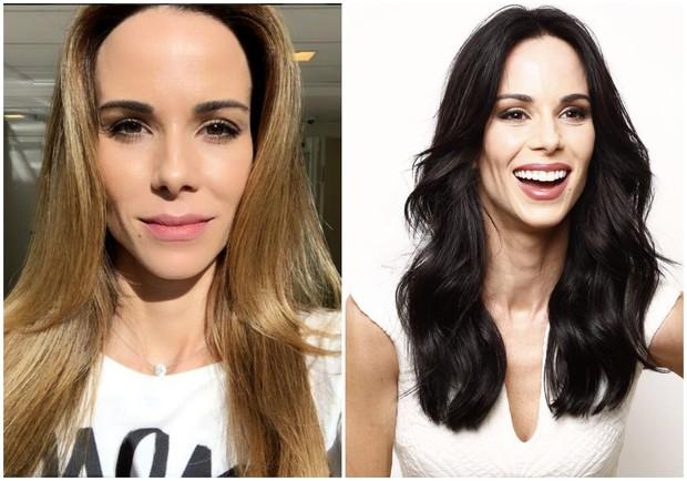Ana Furtado antes e depois de pintar os cabelos na cor preta (Foto: Reprodução/Instagram/Divulgação/Mariana Brandão)