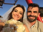 Laura Keller e Jorge Sousa mostram casamento nas alturas; veja vídeo