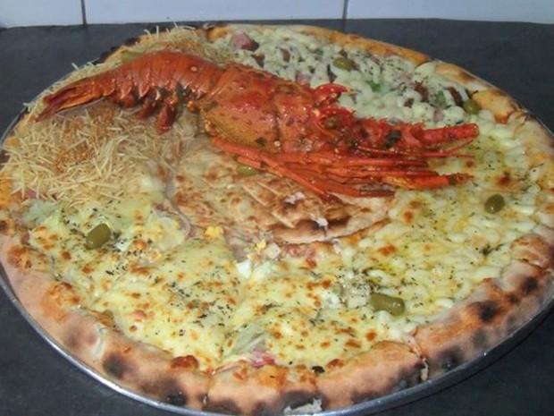 Pizza com recheio de lagosta (Foto: Ricardo dos Santos/Arquivo Pessoal)