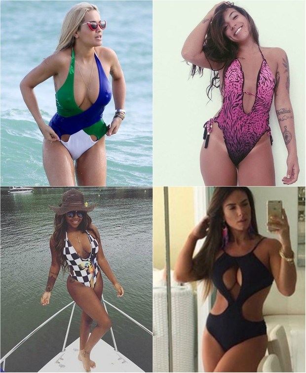 Rita Ora, Petra Matta, Ludmilla e Nicole Bahls apostam no maiô com decote para valorizar corpo no verão 2016 (Foto: Reprodução do Instagram)