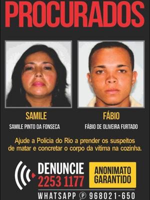 Polícia procura suspeitos de concretar corpo de mulher sob a pia (Foto: Divulgação / Disque-Denúncia)