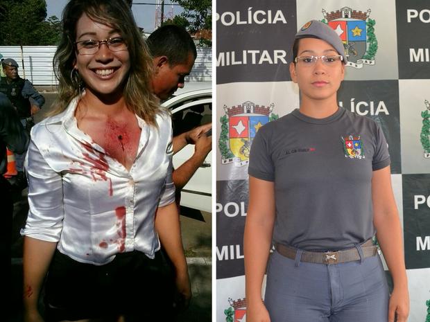 PM Emily no dia da simulação (esquerda) e no exercício da função (Foto: John Pacheco/G1, Cássio Albuquerque/G1)