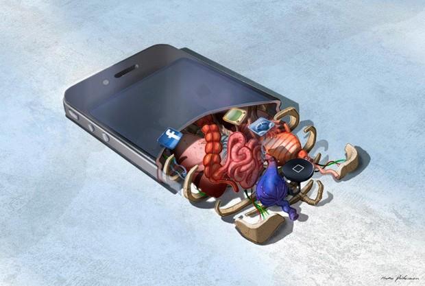 Smartphone visto por dentro tem órgãos humanos (Foto: Reprodução)