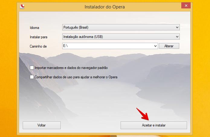 Instalando o Opera no pen drive (Foto: Reprodução/Helito Bijora)