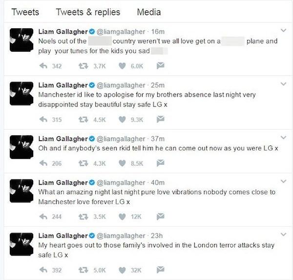 O desabafo de Liam Gallagher do Oasis reclamando da ausência do irmão, Noel Gallagher, no show em homenagem às vítimas do ataque terrorista em Manchester (Foto: Twitter)