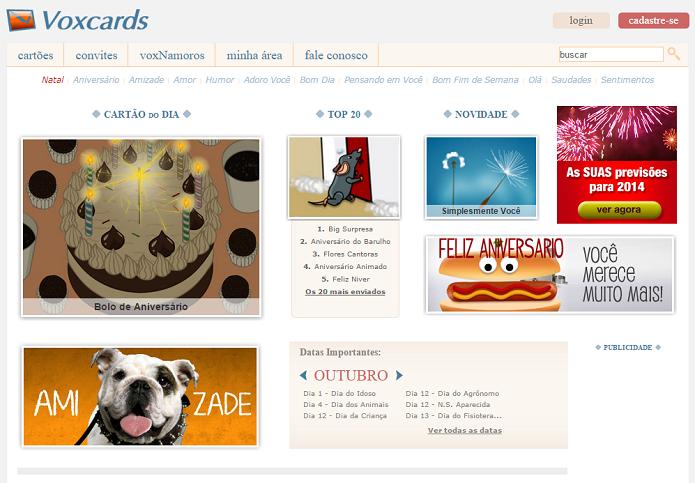 Site de cartões virtuais ainda está no ar (Foto: Reprodução/Thiago Barros)