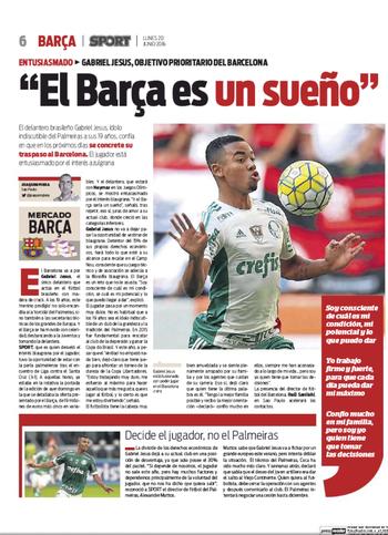 Gabriel Jesus Palmeiras jornal Sport Barcelona (Foto: Reprodução)