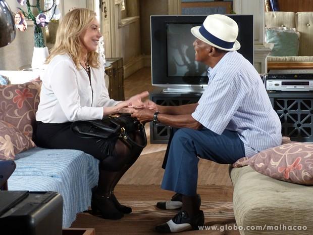 Elvira e Jozino se encontram e finalmente o mau entendido é desfeito (Foto: Malhação / TV Globo)