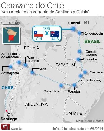 Mapa Caravana do Chile Giovana (Foto: Editoria de Arte/G1)