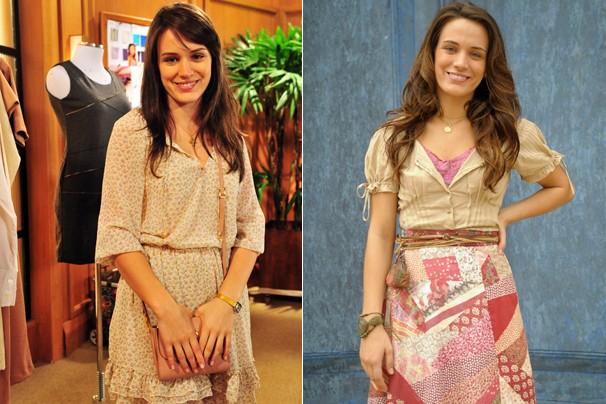 A atriz como a malvada Carolina, de Guerra dos Sexos (2012), e como a doce Açucena, de Cordel Encantado (2010) (Foto: CEDOC Globo)