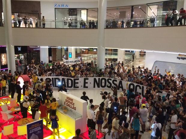 Dentro de shopping na Zona Sul, manifestantes exibiram faixas contra o projeto e dançaram uma ciranda (Foto: Vitor Tavares/G1)