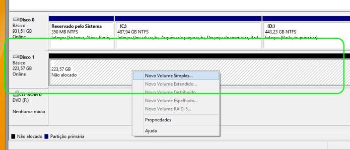 Identifique o disco SSD, clique com o botão direito e selecione a opção Novo Volume Simples (Foto: Reprodução/Adriano Hamaguchi)