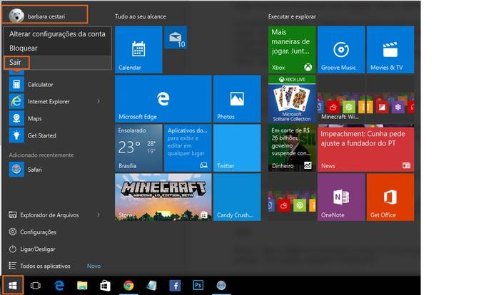 Saia da sua conta no Windows 10 ou reinicie o computador para aplicar as mudanças (Foto: Reprodução/Barbara Mannara)